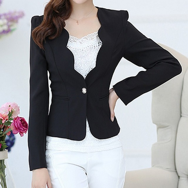 Scalloped Trim Single Button Blazer For Women Spring 2017 Casual Long Sleeves Slim-Fit Front Pocket Suit Jacket Blazer Feminino