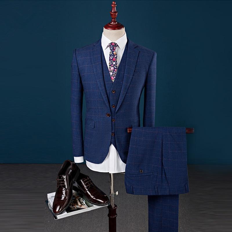 Marié veste Gentleman Gilet 2019 Bleu Pour Bleu Casual Mariage Costumes Pantalon Costume Automne Style Printemps D'affaires Mode Hommes marine De zrqz5xZ