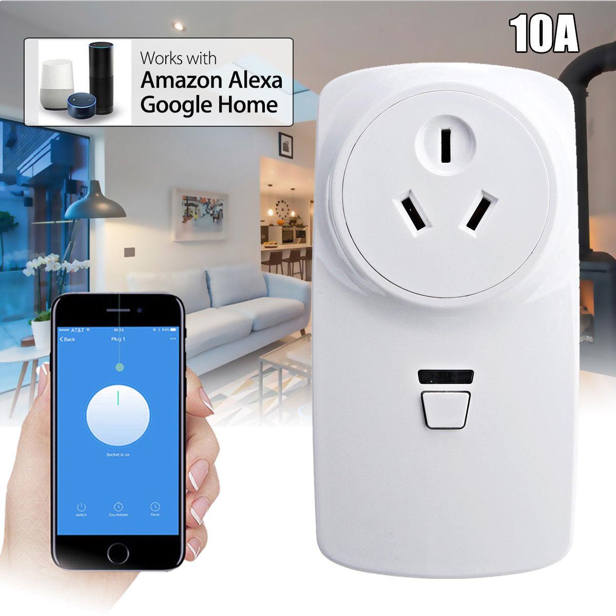 Wifi Smart AU Plug Power Socket Outlet APP For Amazon ECHO ALEXA GOOGLE HOME 10A(AU PLUG)