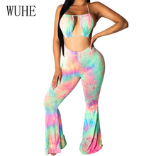 WUHE Women Sexy Off Shoulder Halter Jumpsuit Vintage Tie-dyed Trumpet Hollow Out Open Back Playsuit Summer Casual Beachwear