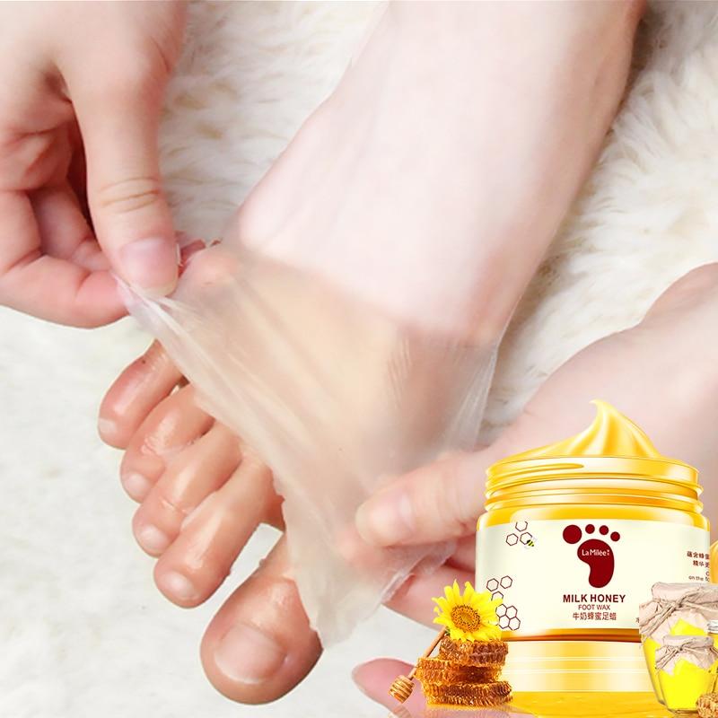Honey Milk Foot Wax Feet Mask Moisturizing Hydrating Nourishing Whitening Skin Care Peel Off Foot Skin Care Exfoliating Anti-dry