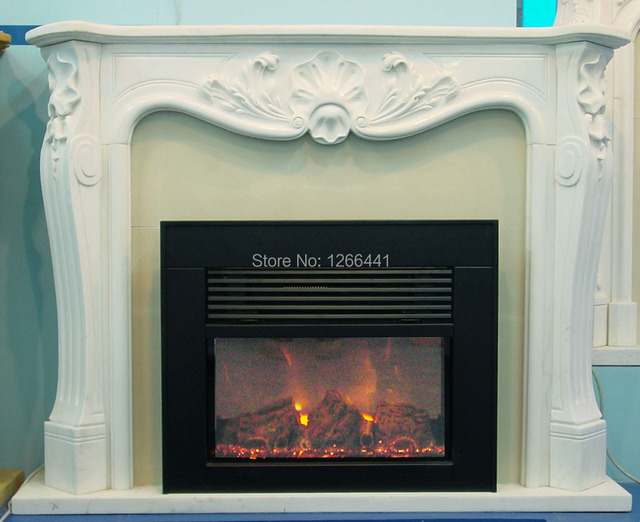 Carved Stone Fireplace Marble Mantel Plus Electric Insert Classic