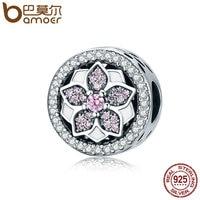 BAMOER Genuine 925 Sterling Silver Blooming Flower Pink Clear CZ Beads Fit Original Bracelets Bangles DIY
