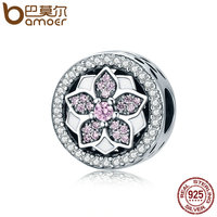 BAMOER Genuine 925 Sterling Silver Blooming Flower Pink Clear CZ Beads Fit Original Bracelets Bangles DIY