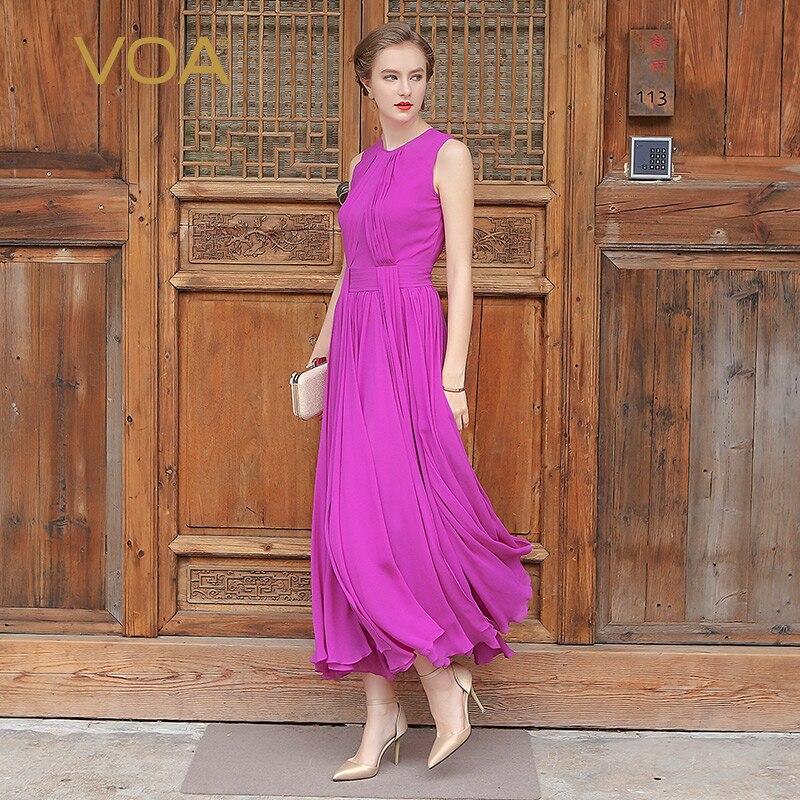 VOA 5XL Plus Silk Georgette Ženy Boho Maxi Dlouhé šaty Bez rukávů Fialová Azurová Neformální Plážové skládané šaty Léto A5551