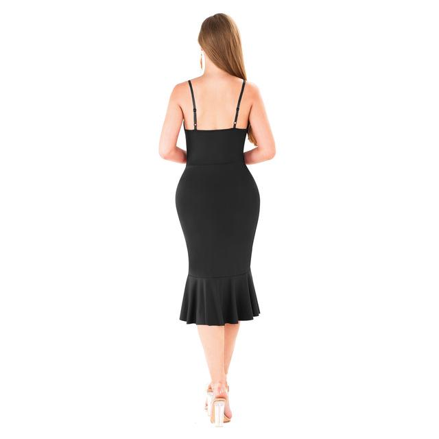 Asymmetric deep v neck bodycon dress