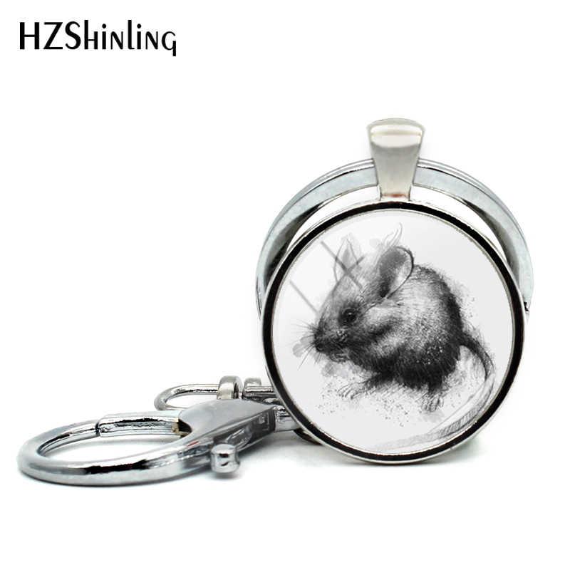 Новинка 2018! брелки с изображением маленькой мышки для женщин, сумка, сказочный брелок с изображением мышки, стеклянный кабошон