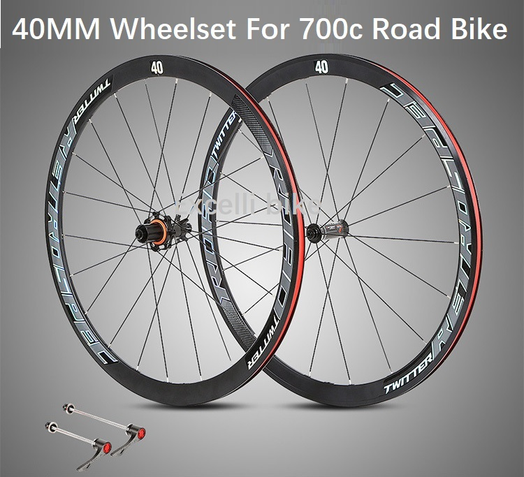 700CC Road Bicycle Wheelset 40MM Ultra-light Aluminium alloy Rim Road Bike wheels four bearing carbon fiber hub Bicicleta Wheels 700cc wheels disc brake wheels road bicycle v c brake 30mm alloy rim 29inch cross country road bike silver frame light wheel