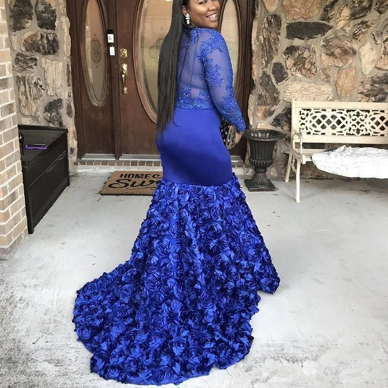 Royal Blue Plus Size Prom Dresses For Black Girl 2019 Long Sleeve Beaded Applique Mermaid African Formal Evening Gowns in Evening Dresses from Weddings Events