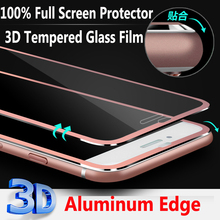 Luxury Metal Aluminum Frame Slim Front Screen Protector for iPhone 6 6s Tempered Glass Film Full