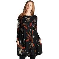 Dresses Big Sizes Women Autumn Winter Dresses 2017 Fashion Long Sleeve Feathers Printed Casual Dress Plus Size Tunic Black