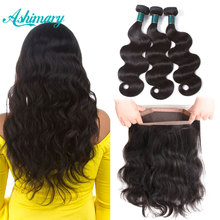 hot deal buy ashimary 360 lace frontal closure with bundles brazilian body wave human hair 360 lace frontal with bundle remy hair weaves