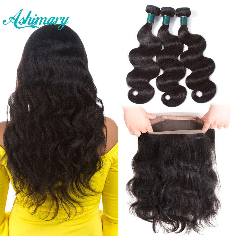 Ashimary 360 Lace Frontal cierre con Bundles brasileño onda del cuerpo del pelo humano 360 Frontal del cordón con el pelo Remy teje