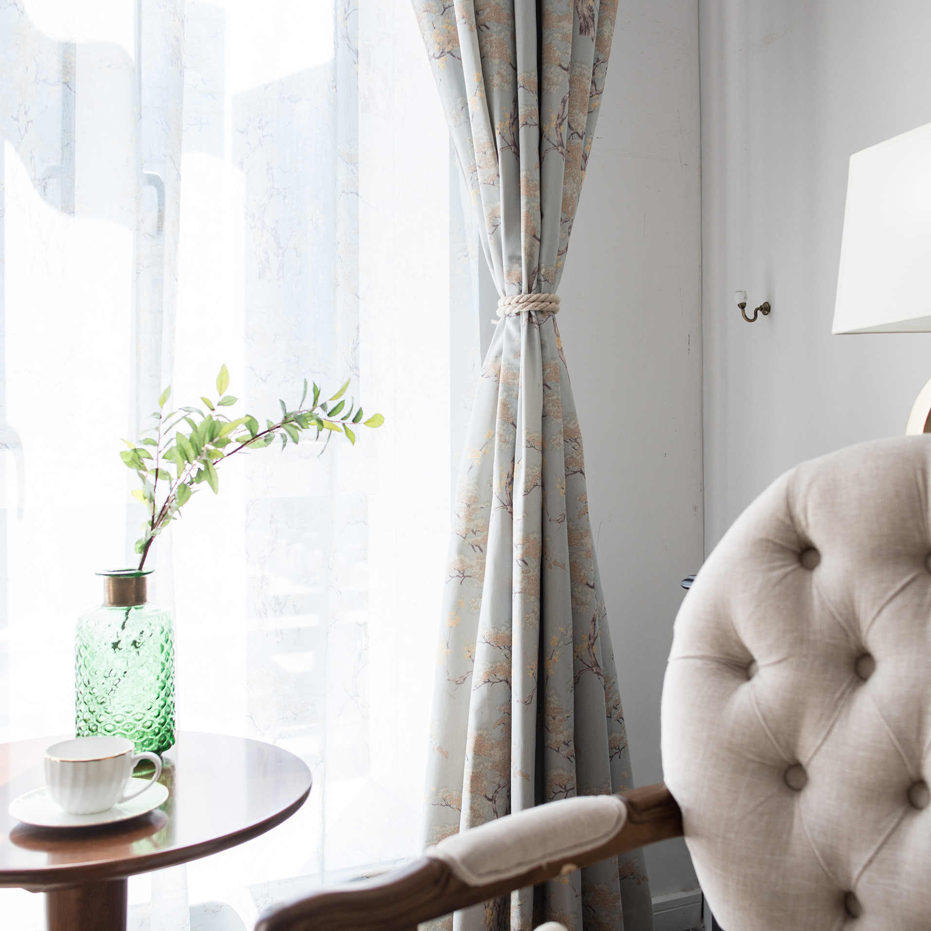 Slow Soul синий кофе Импрессионизм современный китайский занавес Простые занавески для французского окна для гостиной спальни кухни Цветочные