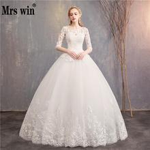 Свадебное платье с коротким рукавом es Новинка Mrs Win роскошное кружевное бальное платье с вышивкой свадебное платье на заказ Vestido De Noiva F