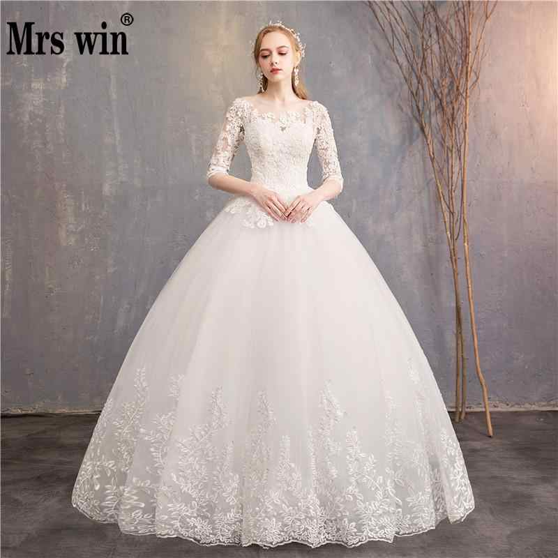 Half Sleeve Wedding Dresses 2020 New Mrs Win Luxury Lace