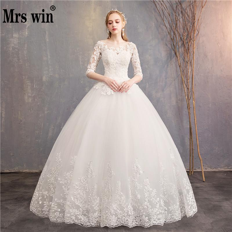 Half Sleeve Wedding Dresses 2020 New Mrs Win Luxury Lace Embroidery Ball Gown Wedding Dress Can Custom Made Vestido De Noiva F