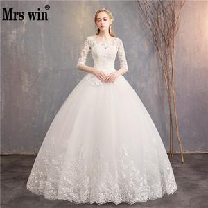 Image 1 - Half Sleeve Wedding Dresses 2020 New Mrs Win Luxury Lace Embroidery Ball Gown Wedding Dress Can Custom Made Vestido De Noiva F