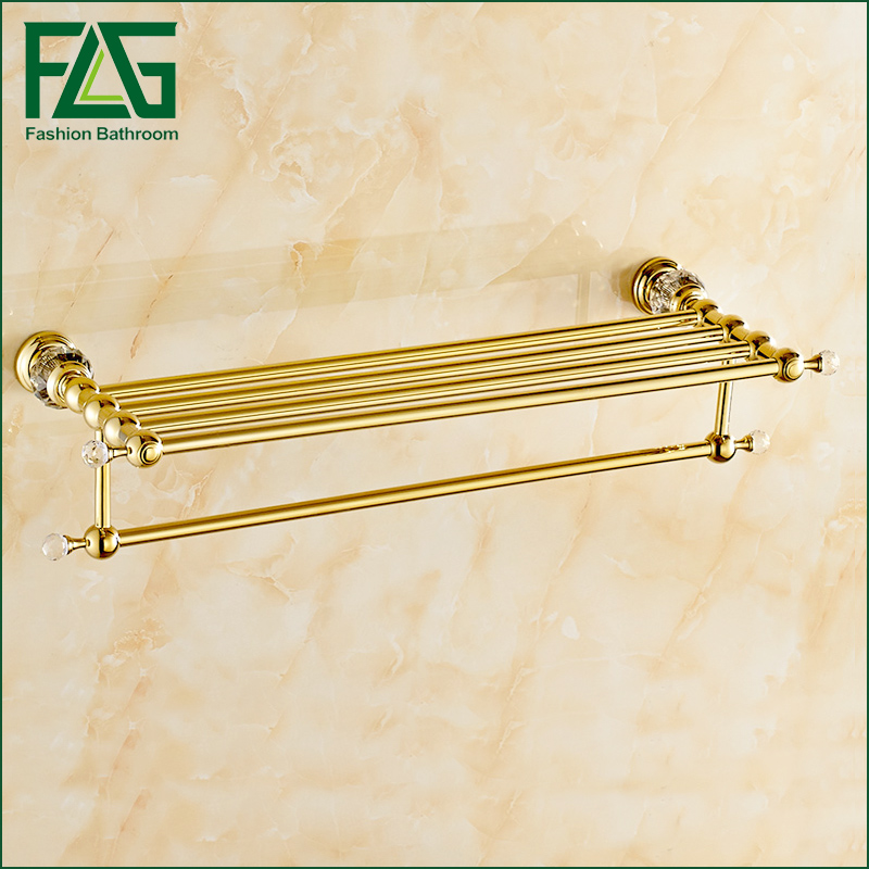 FLG Bathroom Shelves Brass Crystal Towel Rack Gold Towel Shelf Wall Mounted Towel Holder Towel Hanger Bathroom Accessories bathroom shelves wall mounted black towel rack holder towel hanger bath towel holders wc clothes storage shelf wf 88812