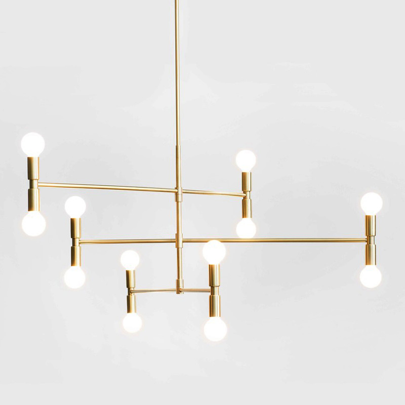 Modern Line Bronze Gold Rotatable Pendant Light Lamp Adjustable Microphone Ceiling Hanging Lamp Light For Living Bed Room Foyer