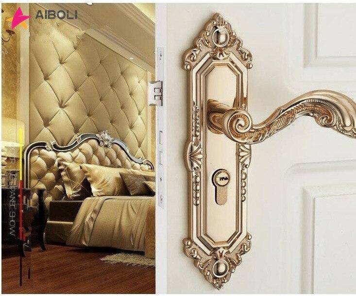 Serrure de porte Vintage muette en alliage de Zinc serrure de poignée de porte intérieure style européen serrure de porte antivol matériel de meubles
