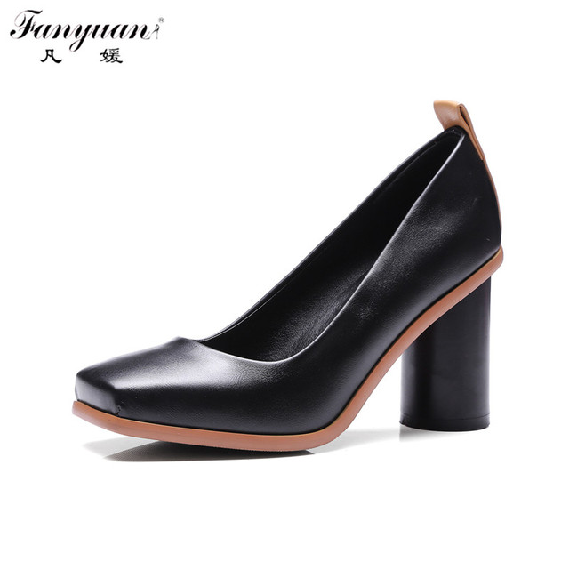 2017 Spring Woman Shallow Shoes Thick Heel Woman Pumps Square Toe High Heel Pumps Single Shoes Woman Novelty Black White Shoes