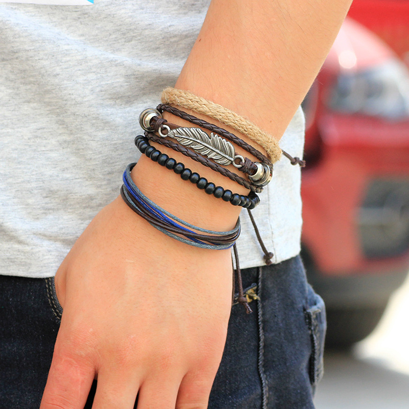 blue img wide ankle guys fiber men s and black bracelets anklet best bracelet mens for knots