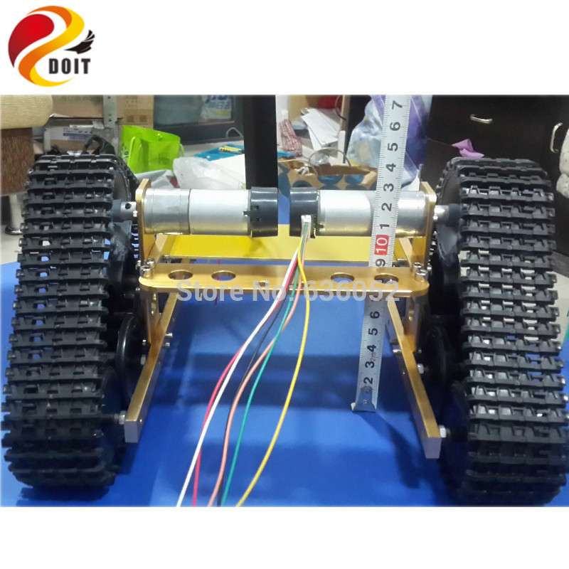 Official DOIT Golden Yellow RC Tank Chassis DIY RC Toy Wireless Remote Control Caterpillar Tractor Brrandloand Robot Walle Car official doit rc metal tank chassis wall caterpillar tractor robot wall e crawler wall brrow land car diy rc toy remote control