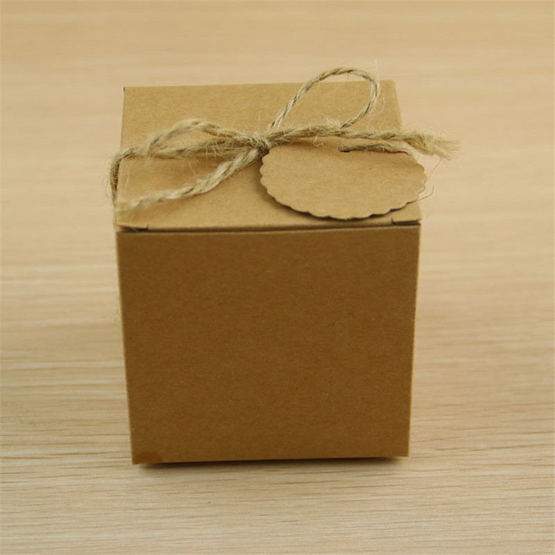 200PCS Kraft Paper Boxes Pillow Candy Box Wedding Favors Gift With Tags With Burlap Twine Party Birthday Baby Shower Supply