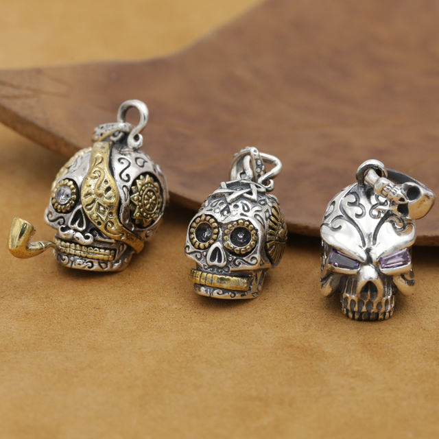 8ffad74b3 Handmade 925 silver Skeleton Pendant vintage thai sterling silver skull  pendant man PUNK jewelry necklace pendant gift