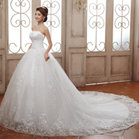 Cheap Wedding Dresses 2015 Good Quality Luxury Princess Lace Embroidery Plus Size Long Train Bow Bridal