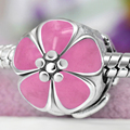 Free Shipping Light Pink Enamel Clip Flower Charm Safety Stopper Beads Fits Pandora Bracelets & Necklaces YW15028