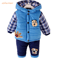 New Baby Boys Clothing Set Winter Warm Clothes Suit Lovely bear Cotton Velvet Clothing Set Fashion Boy's Clothes Toddler 1 3 yea