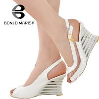 Fashion Women High Wedge Heel Sandals Chaussure Shoes Platform Brand New Patent Leather Sexy Summer Sandals