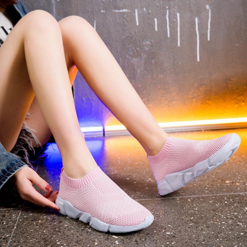 Women slip on sock shoes women breathable footwear runner slip-on sneaker for lady big size shoes zy4131