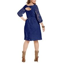 A-Line Lace Backless Bowknit O-neck Elegant Dress Plus Size XL-4XL