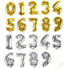 """1pcs 16inch Cute Silver/Gold foil number """"0-9"""" Balloons New Year Birthday party Wedding Decoration love Ballon"""