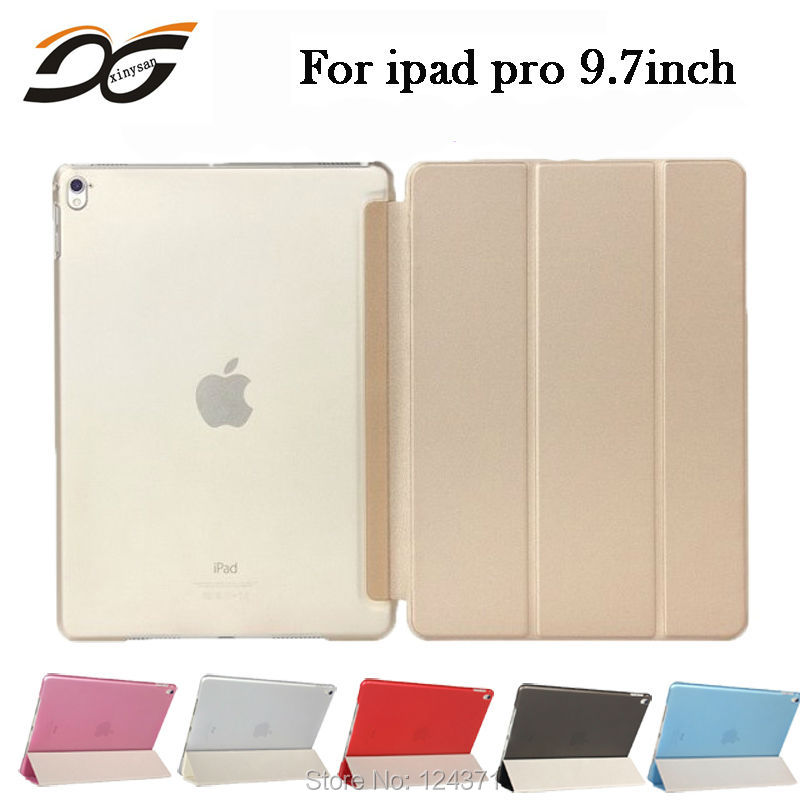 """Renkli Ultra İnce Manyetik Ön Akıllı Kılıf Cilt ve Arka Sert PC Kapak Bağlantılı Standı Foilio CaseFor Yeni iPad Pro 9.7 """"A1673"""