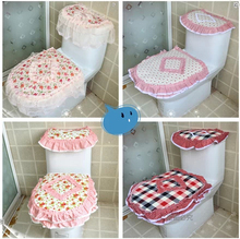 Free shipping High Quality toilet cover flower grid toilet seats toilet rustic fabric lace three piece set fashion rose