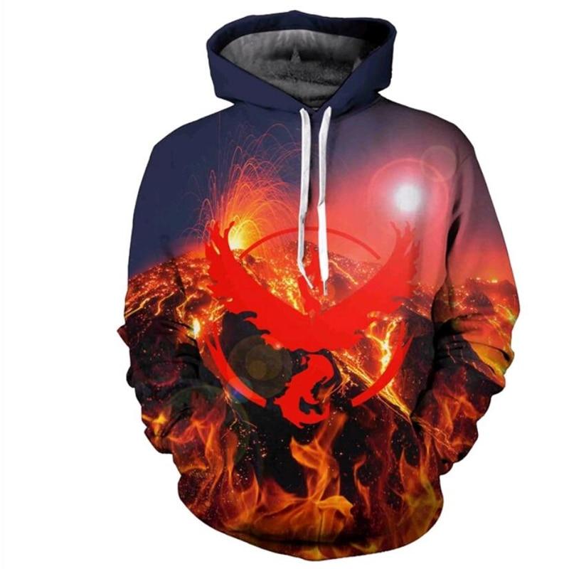 Volcano eruption 3D Hooded Sweatshirt Men Women Digital printing Hoodies Hipster Cartoon Pokemon Go Sweatshirts Outerwear