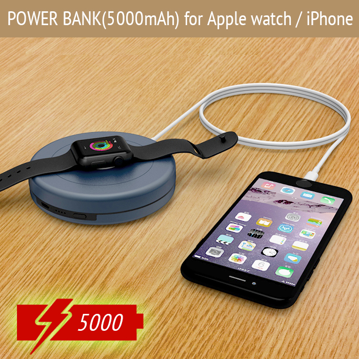 Double output Power Bank 5000mAh external battery poverbank for Apple Watch Portable Charger dock station charging for iPhoneDouble output Power Bank 5000mAh external battery poverbank for Apple Watch Portable Charger dock station charging for iPhone