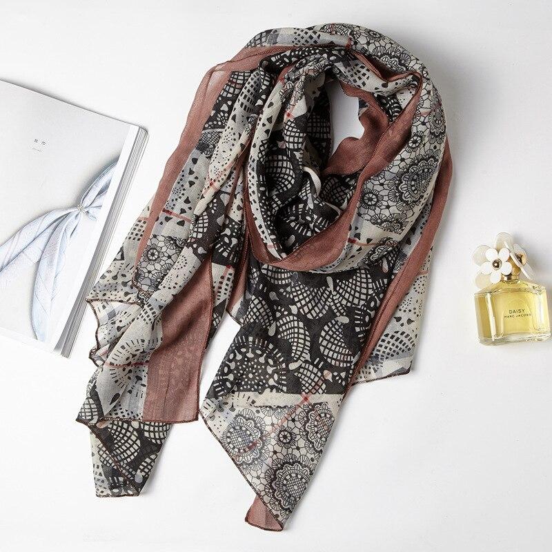 2017 Women Lace Floral Pattern Quality Cotton Voile Scarf 3Colors 10pcs/lot