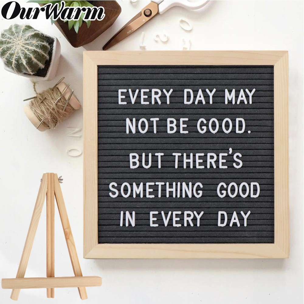 OurWarm Funny DIY Felt Letter Board Sign Pink Black Grey Changeable Message Board With Holder Wedding Home Decoration 10