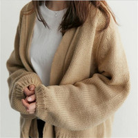 2018 New Autumn Winter Cardigans Sweater Women Knit Sweaters Coat Loose Batwing Sleeve Knitted Outerwear for Female MYR014