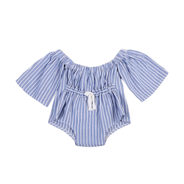 e28e8239bdb 2017 Striped Kids Baby Girls Off-Shoulder Long Sleeves Romper Jumpsuit  White and Blue One-Pieces Clothes 0-4Y