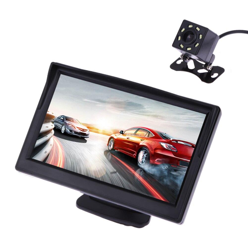 5 дюймов TFT ЖК-дисплей заднего вида Дисплей Мониторы + Водонепроницаемый Ночное видение Реверсивный резервного заднего вида Камера стайлинга автомобилей Автомобильные мониторы
