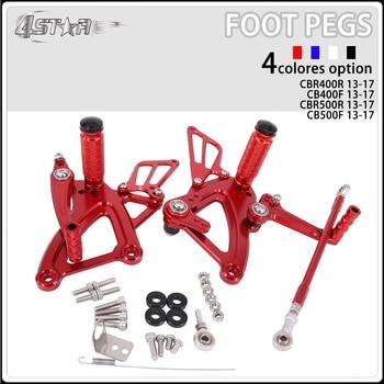 Motorbike CNC Aluminum Adjustable Footpegs Foot Pegs Footrest Pedals Rests For HONDA CBR400R CB400F CBR500R CB500F 2013-2017