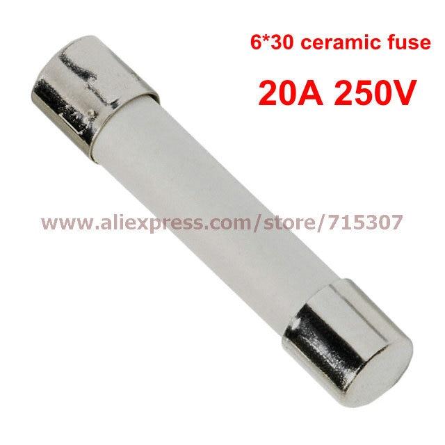 PHISCALE 100pcs 6*30 / 6x30mm Ceramic fuse 20A 250V 6 100