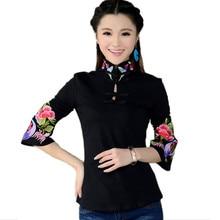 สไตล์จีนเสื้อสตรี2016ฤดูใบไม้ผลิชาติพันธุ์สีดำสีขาวยืนปกปักเสื้อหญิงแขนยาวด้านบนblusa 0364(China (Mainland))