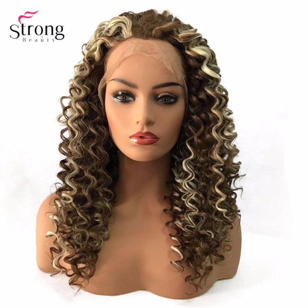 StrongBeauty Lace Front Parykar Brun / Svart Lång Sassy Curly Hair - Syntetiskt hår - Foto 5